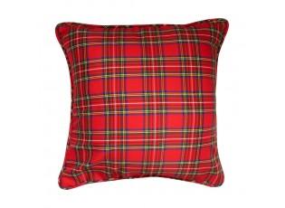 Čtvercový červený kostkovaný polštář Scott - 45*45*15cm