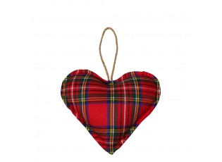 Závěsné dekorativní srdce Tartan S - 10*10*5cm