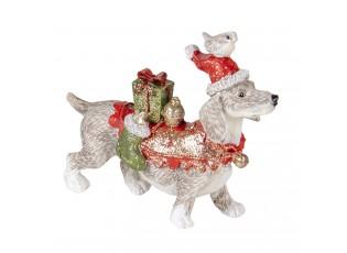 Dekorativní soška psa s dárky a čepicí - 9*3*8 cm
