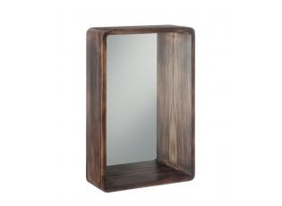 Hnědé dřevěné závěsné zrcadlo - 40*15*60 cm