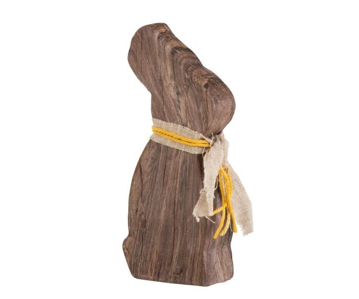 Hnědá dekorace králík v dekoru dřeva - 10*5*22 cm