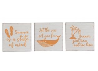 Set 3ks nástěnných dekoračních cedulí Summer - 25*25*1 cm