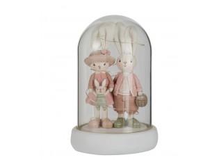 Dekorace králičí dívka a chlapec v poklopu - 12*12*18 cm