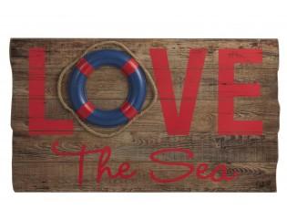 Dřevěná nástěnná 3D cedule Love the Sea - 70*40*5cm
