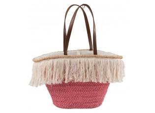 Růžová plážová taška/ košík s třásněmi Beach tassel  - 48*18*30cm