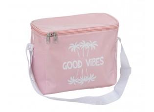 Cestovní růžová termotaška s popruhem Good vibes - 21*12*17 cm