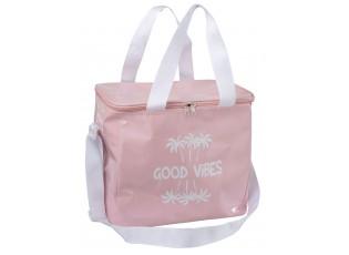 Cestovní růžová termotaška s popruhem Good vibes - 30*21*27cm