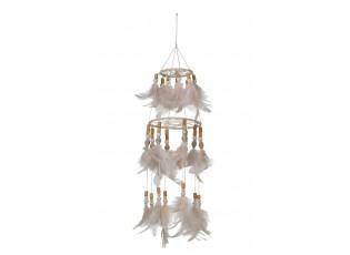 Přírodní lapač snů s lososovými peříčky Boho Feathers - Ø 13*50cm