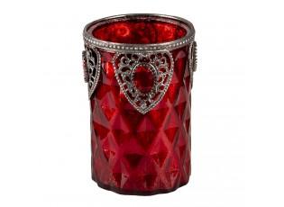 Červený skleněný zdobený svícen Rot - Ø 9*14 cm