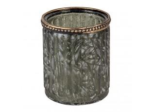 Skleněný svícen se zdobeným lemem Luz - Ø 8*9 cm