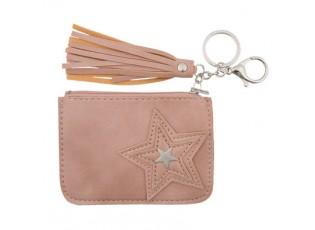 Růžová kapsička na klíče s hvězdičkou - 9*12 cm