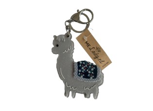 Přívěsek na klíče šedá lama se zrcátkem