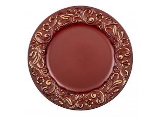 Červeno zlatý plastový dekorativní talíř s ornamenty - Ø 33*2 cm