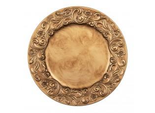 Zlatý plastový dekorativní talíř s květinami - Ø 33*2 cm