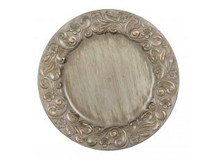 Zlato stříbrný plastový dekorativní talíř - Ø 33*2 cm