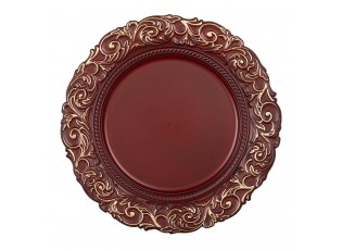 Cihlově červeno zlatý dekorativní plastový talíř - Ø 33*2 cm