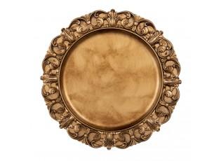 Zlato-hnědý plastový talíř s ornamenty - Ø 33*2 cm
