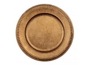 Zlato-hnědý plastový talíř s dekorem - Ø 33*2 cm