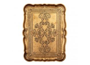 Zlato-hnědý plastový obdélníkový podnos - 31*23*2 cm