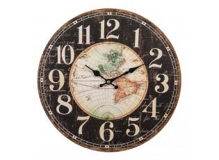 Hnědé kovové nástěnné hodiny Diego s mapou  - Ø 34*1 cm / 1*AA