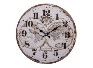 Nástěnné hodiny Amsterdam s mapou - Ø 34*1 cm / 1*AA