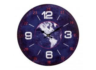 Modré kovové nástěnné hodiny s mapou světa - Ø 34*1 cm / 1*AA