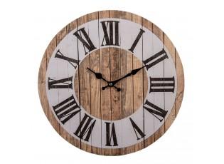 Hnědo bílé nástěnné hodiny Eliseo - Ø 34*1 cm / 1*AA