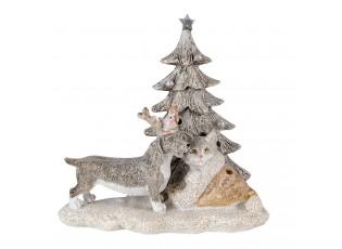 Dekorace pes a kočka s Led osvětlením - 16*10*15 cm