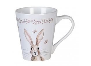 Bílý hrneček s hnědým králíčkem - Ø 9*10 cm / 300 ml