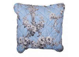 Modrý vintage povlak na polštář s květinami - 40*40 cm