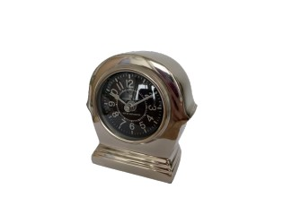 Stříbrné kovové stolní hodiny - 11 cm