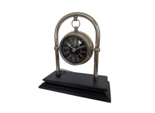 Stříbrné kovové závěsné stolní hodiny na stojánku - 19 cm