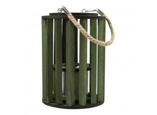 Zelená dřevěná lucerna Grass - Ø 15*20cm
