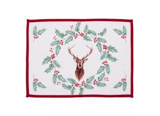 Sada 6 ks látkového stolního prostírání Holly Christmas s jelenem - 48*33 cm