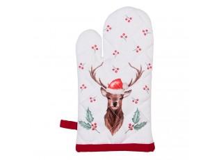 Kuchyňská bavlněná chňapka Holly Christmas s jelenem - 12*21 cm