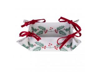 Textilní košík na pečivo Holly Christmas - 35*35*8 cm