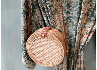 Kulatá ratanová kabelka přes rameno Bali - Ø20*7 cm