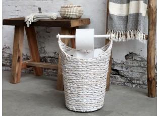 Bílý košík na toaletní papír z vodního hyacintu - Ø30*40 cm