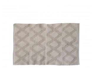 Béžový bavlněný koberec se vzorem - 90*60 cm
