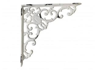 Krémová litinová konzole s ornamentem -20*19 cm