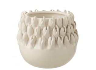 Krémový keramický obal na květináč Ibiza - Ø 15*14cm