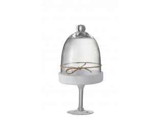 Dekorativní skleněný podnos s poklopem Bell - Ø17 * 33cm