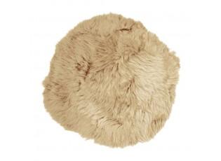 Béžový chlupatý kulatý podsedák z ovčí kůže Shipy - Ø 40*2 cm