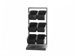 Černá kovová police se 6-boxy - 27*23*57 cm