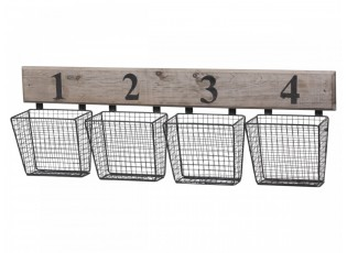 Nástěnná dřevěná police se 4-mi drátěnými koši - 80*11*27 cm