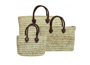 3 ks slaměná nákupní taška s hnědými uchy - 20*30*13/30*40*14/30*50*15cm
