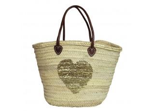 Slaměná plážová taška se zlatým flitrovým srdcem a koženými uchy - 46*35*30cm