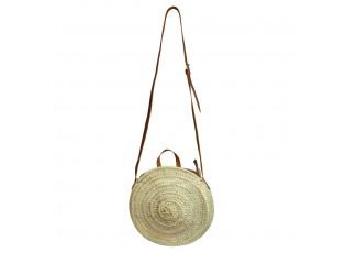 Slaměná kulatá kabelka přes rameno s hnědým uchem - 35*35*8 cm
