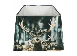 Čtvercové stínidlo na lampu s jelenem v zimní krajině - 37*37*25cm