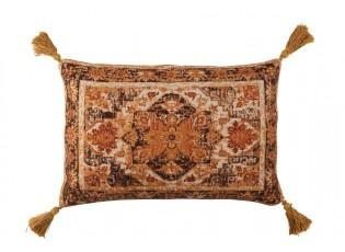 Okrový polštář se střapci zdobený ornamenty Vintage - 40*60 cm